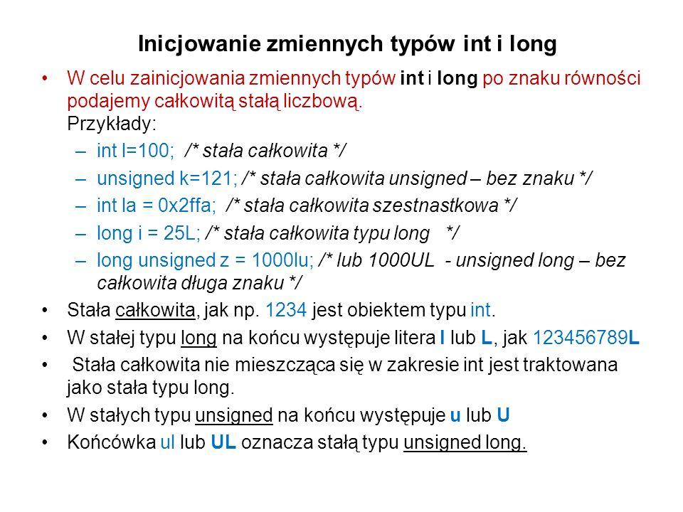 Inicjowanie zmiennych typów int i long