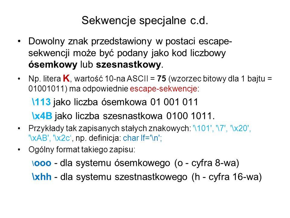 Sekwencje specjalne c.d.