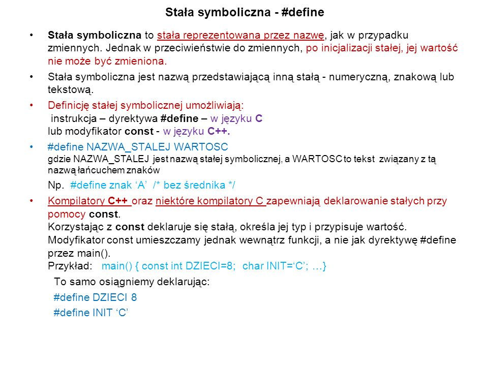 Stała symboliczna - #define