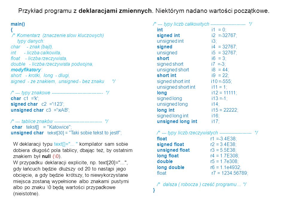Przykład programu z deklaracjami zmiennych