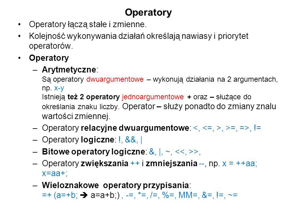 Operatory Operatory łączą stałe i zmienne.