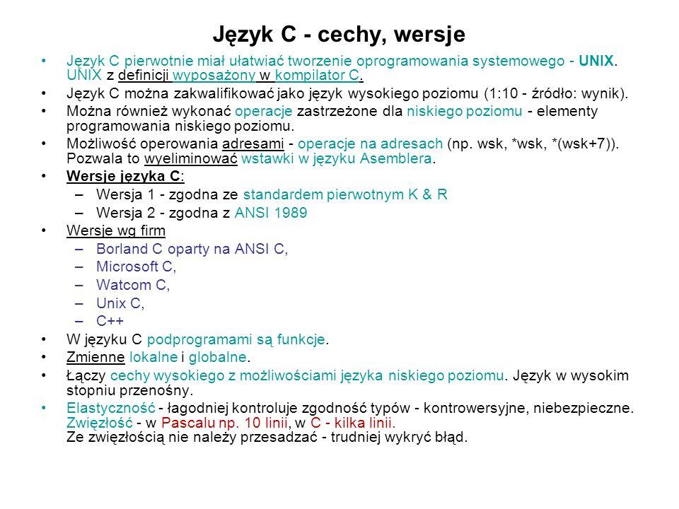 Język C - cechy, wersje Język C pierwotnie miał ułatwiać tworzenie oprogramowania systemowego - UNIX. UNIX z definicji wyposażony w kompilator C.