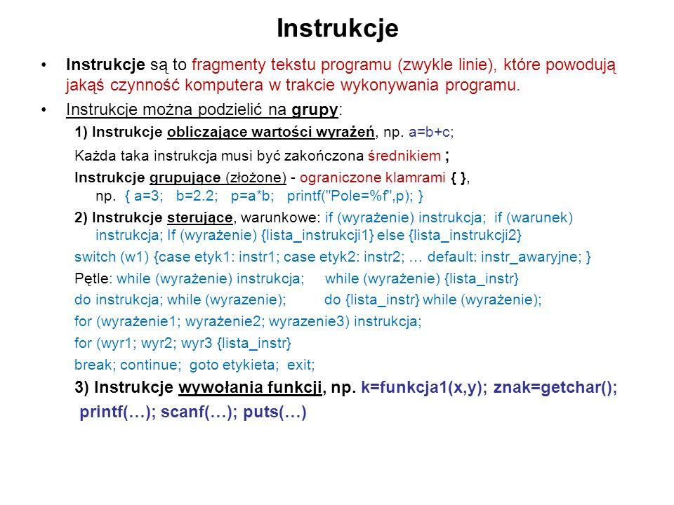 Instrukcje Instrukcje są to fragmenty tekstu programu (zwykle linie), które powodują jakąś czynność komputera w trakcie wykonywania programu.