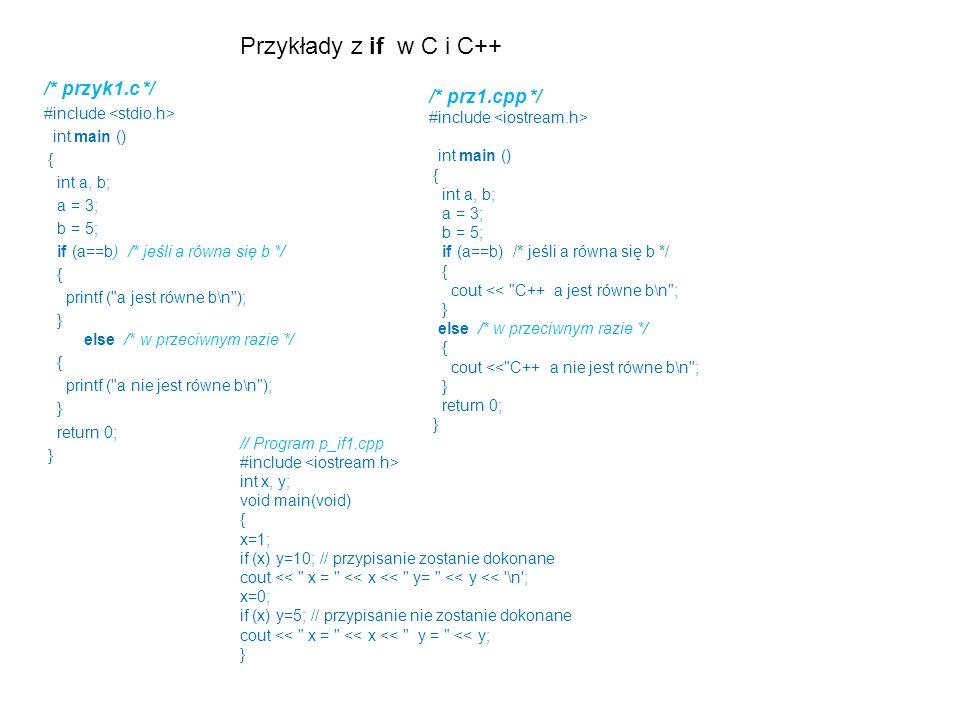 Przykłady z if w C i C++ /* przyk1.c */ /* prz1.cpp */