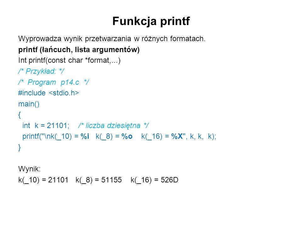 Funkcja printf