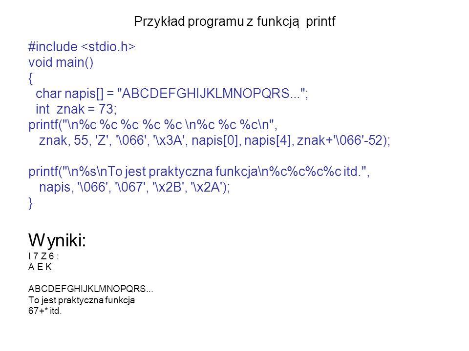 Przykład programu z funkcją printf