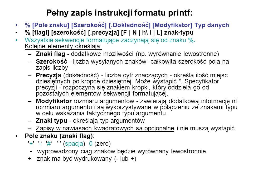 Pełny zapis instrukcji formatu printf: