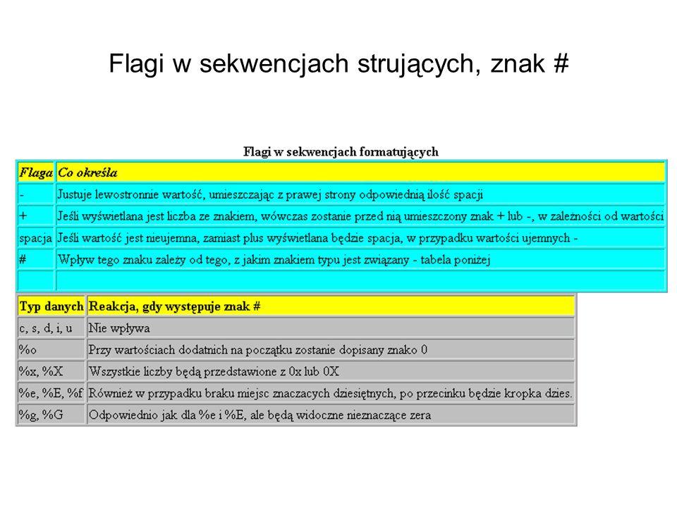 Flagi w sekwencjach strujących, znak #