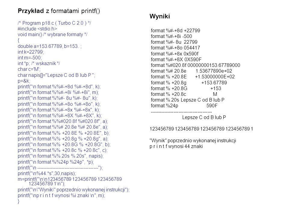 Przykład z formatami printf()