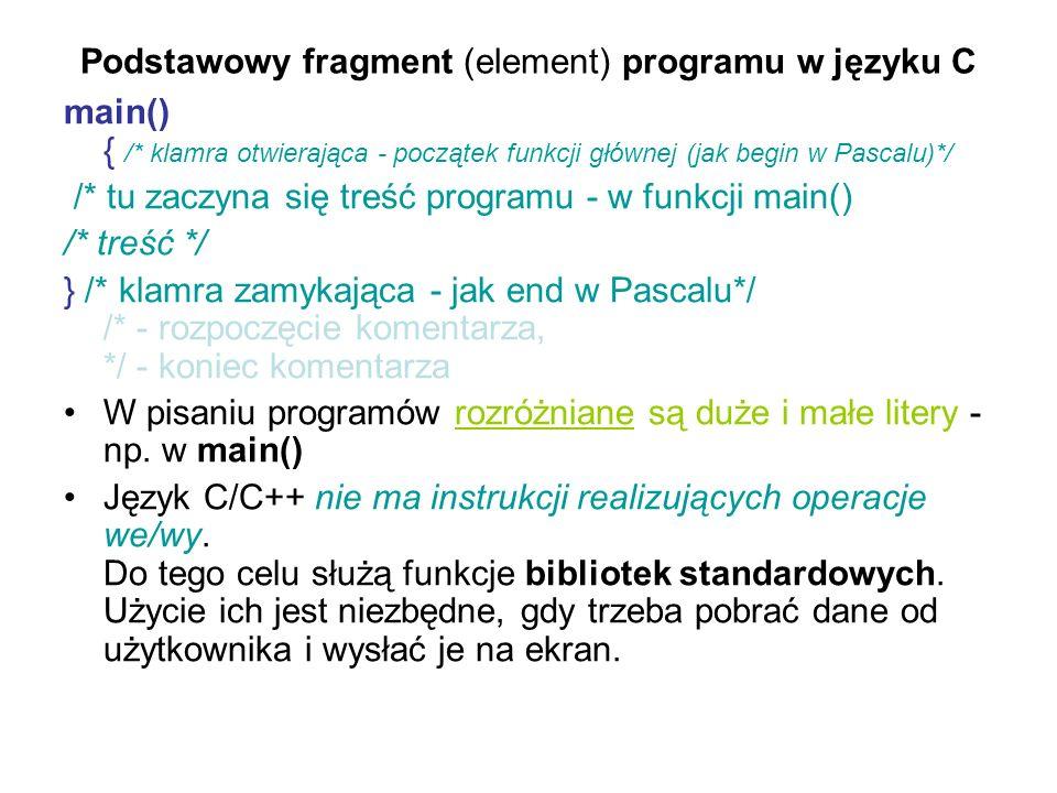 Podstawowy fragment (element) programu w języku C