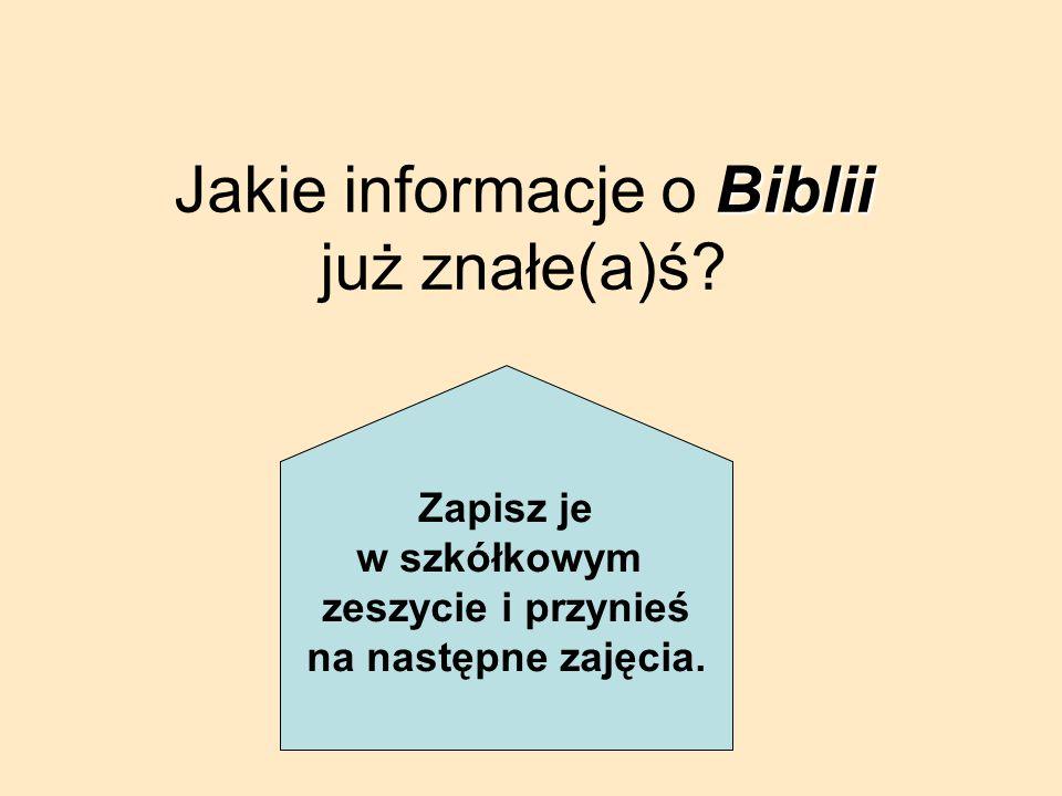 Jakie informacje o Biblii już znałe(a)ś
