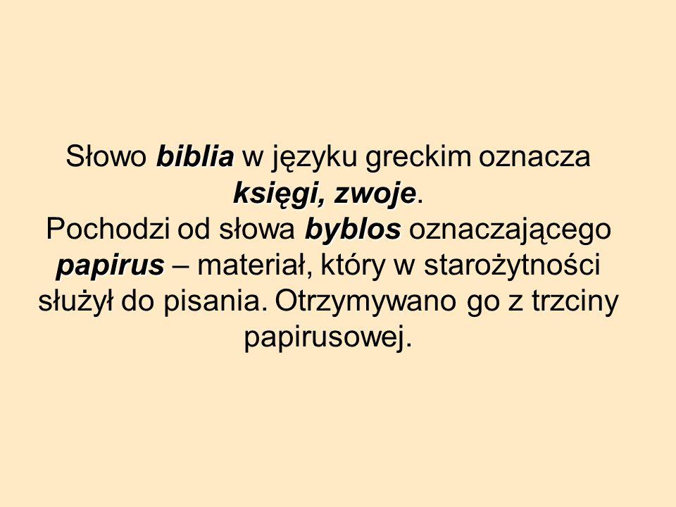 Słowo biblia w języku greckim oznacza księgi, zwoje
