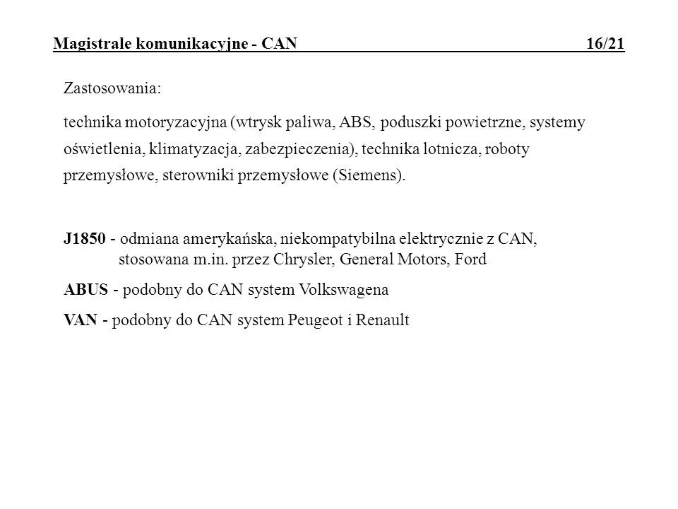 Magistrale komunikacyjne - CAN 16/21