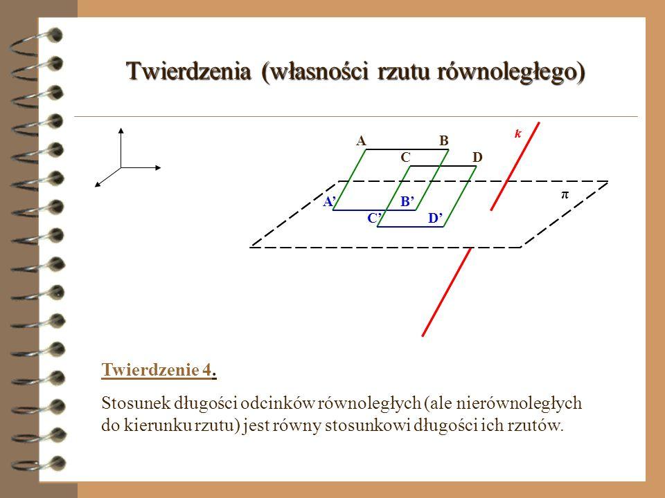 Twierdzenia (własności rzutu równoległego)