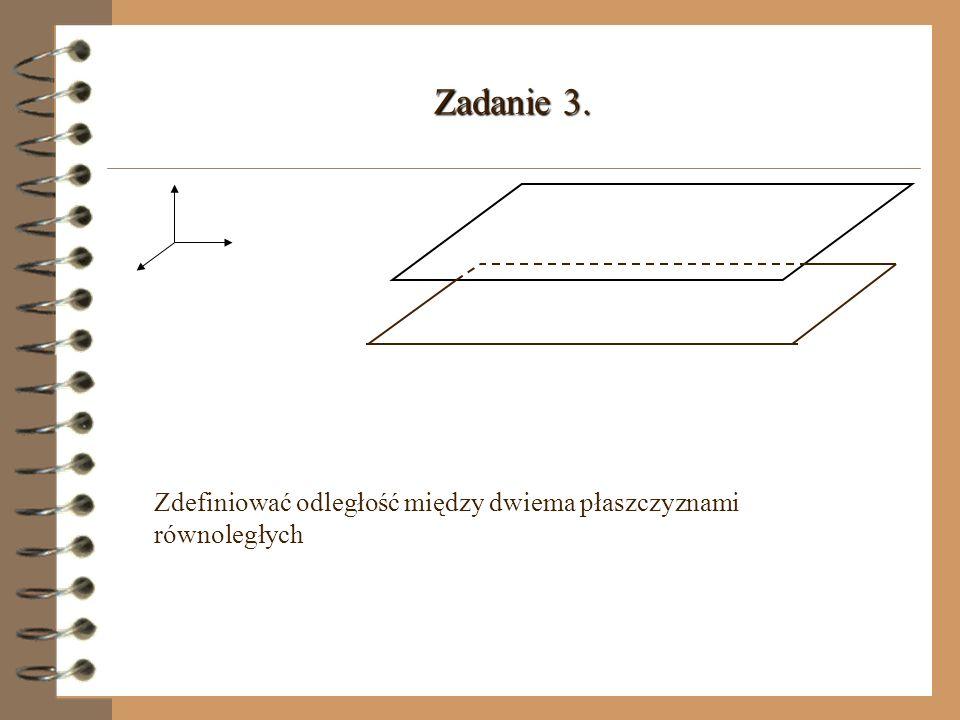 Zadanie 3. Zdefiniować odległość między dwiema płaszczyznami równoległych