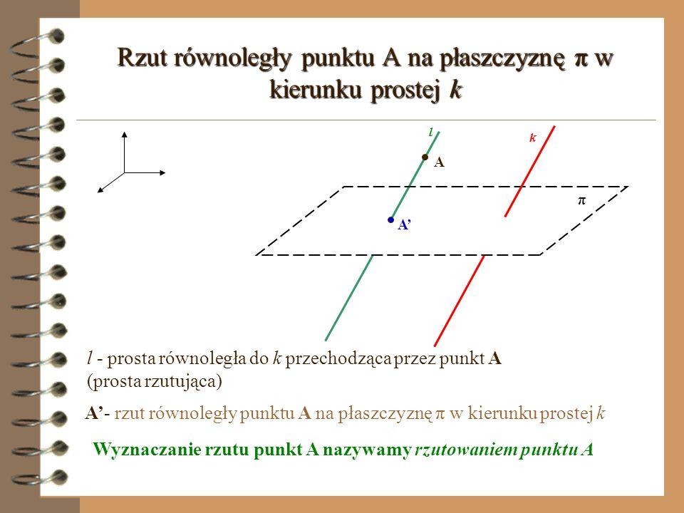 Rzut równoległy punktu A na płaszczyznę π w kierunku prostej k