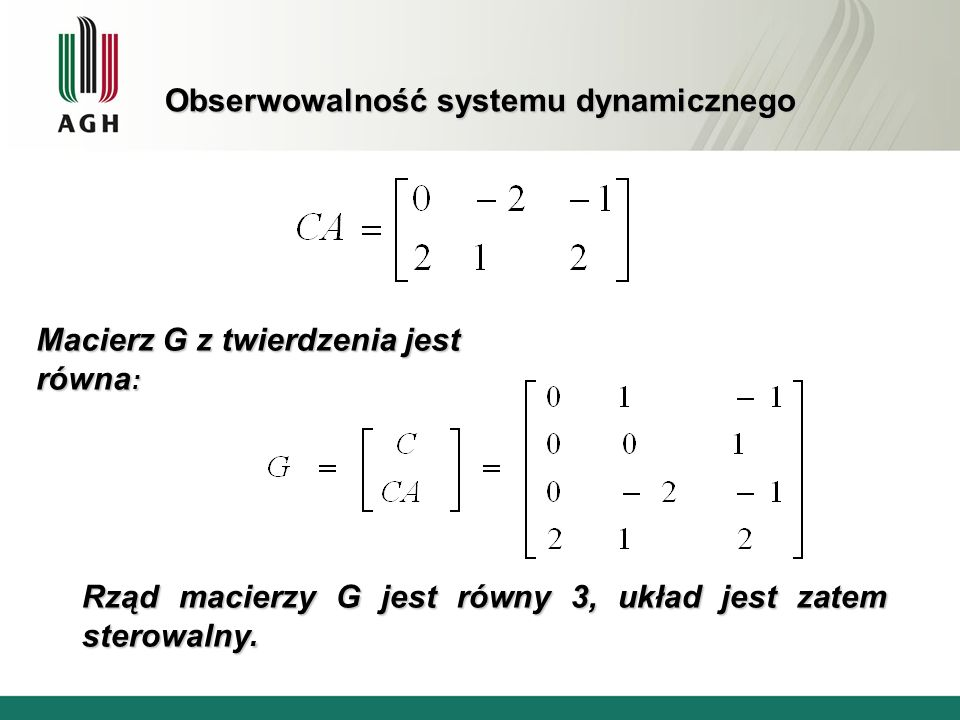 Obserwowalność systemu dynamicznego