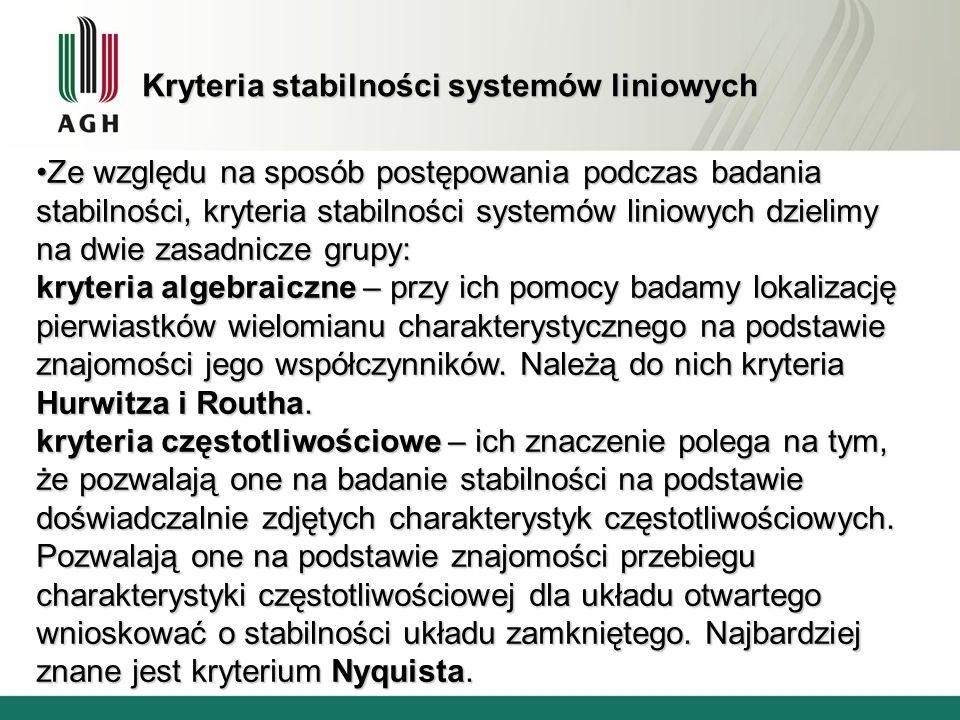 Kryteria stabilności systemów liniowych