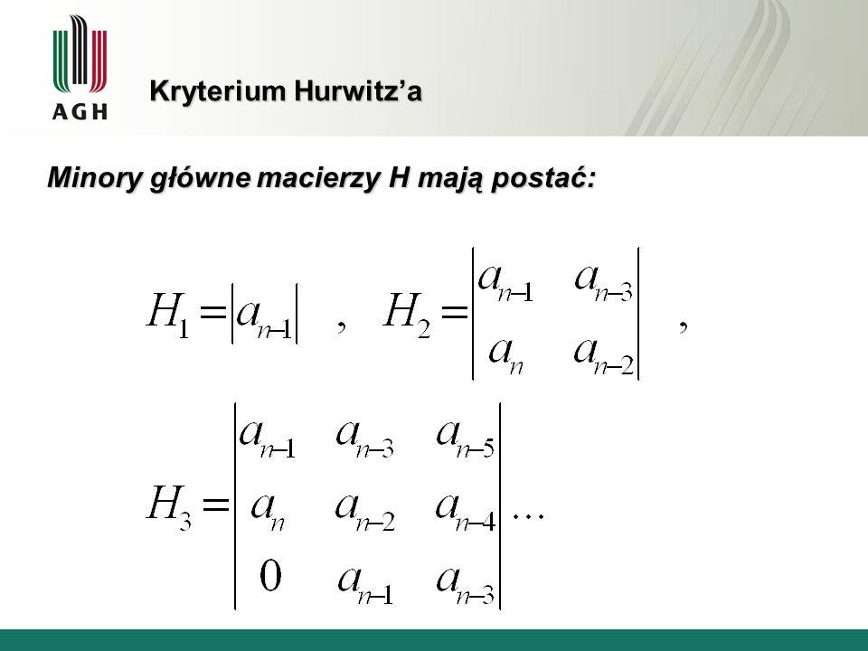 Kryterium Hurwitz'a Minory główne macierzy H mają postać: