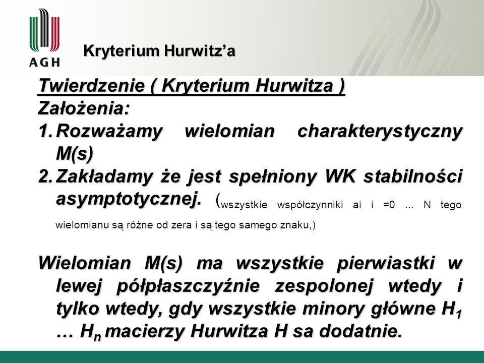 Twierdzenie ( Kryterium Hurwitza ) Założenia: