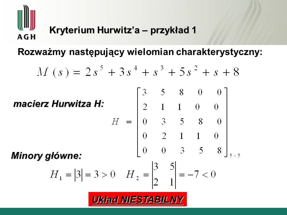 Kryterium Hurwitz'a – przykład 1
