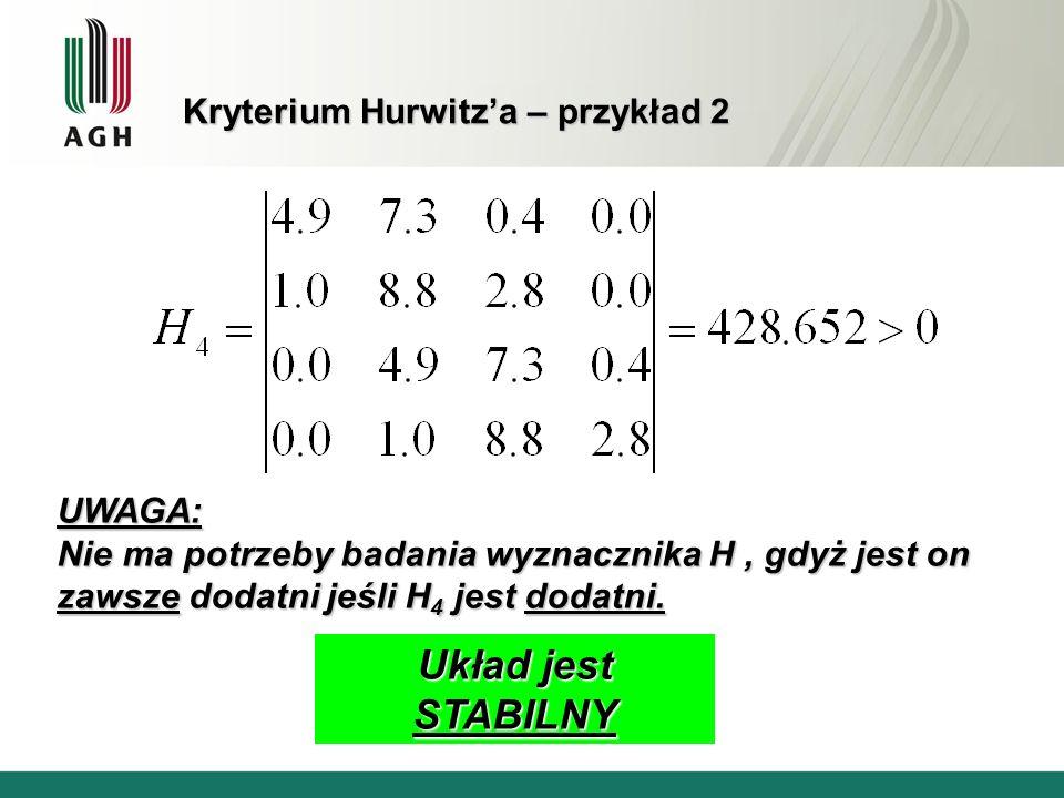 Kryterium Hurwitz'a – przykład 2
