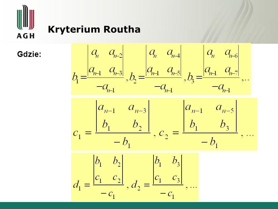 Kryterium Routha Gdzie: