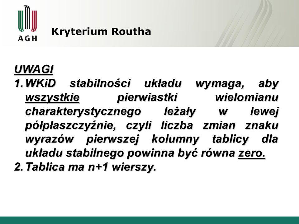Kryterium Routha UWAGI.