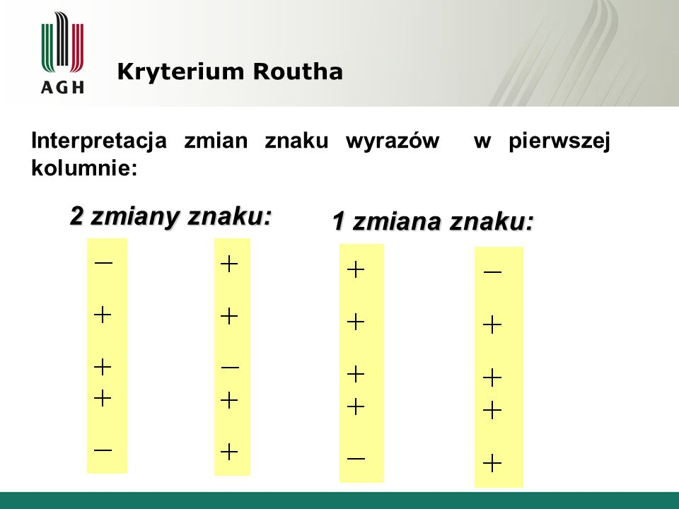 2 zmiany znaku: 1 zmiana znaku: Kryterium Routha