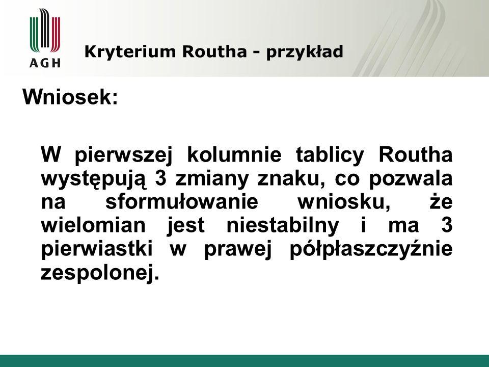 Kryterium Routha - przykład