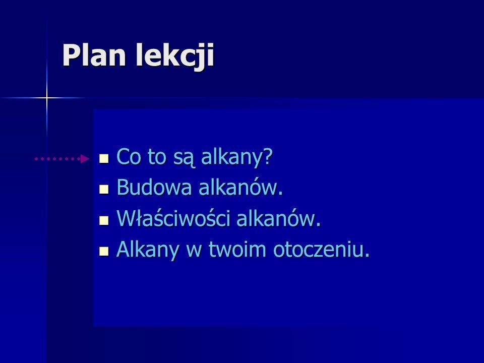 Plan lekcji Co to są alkany Budowa alkanów. Właściwości alkanów.