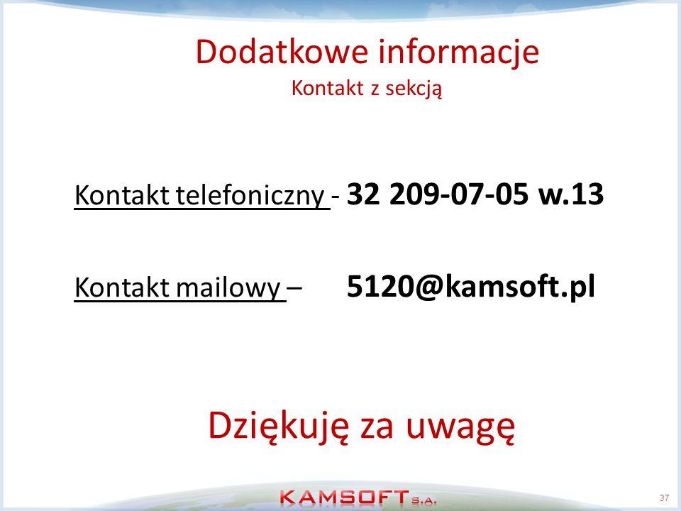 Dodatkowe informacje Kontakt z sekcją