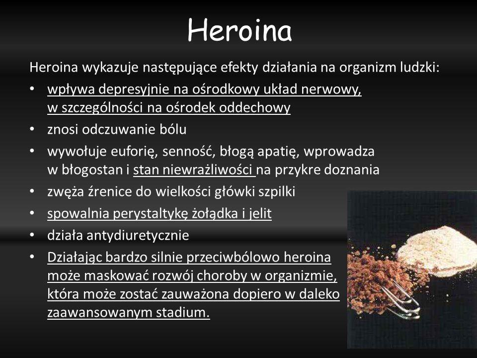 Heroina Heroina wykazuje następujące efekty działania na organizm ludzki: