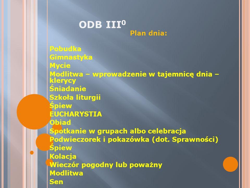 ODB III0 Plan dnia: Pobudka Gimnastyka Mycie