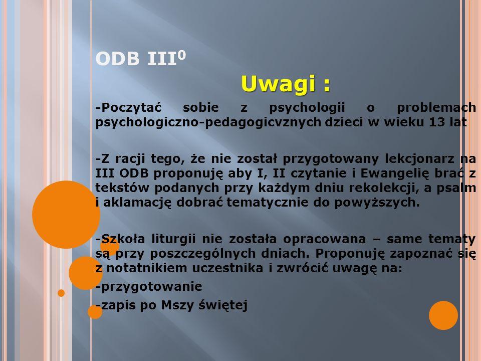 ODB III0 Uwagi : -Poczytać sobie z psychologii o problemach psychologiczno-pedagogicvznych dzieci w wieku 13 lat.