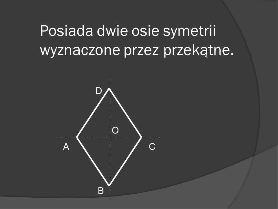 Posiada dwie osie symetrii wyznaczone przez przekątne.
