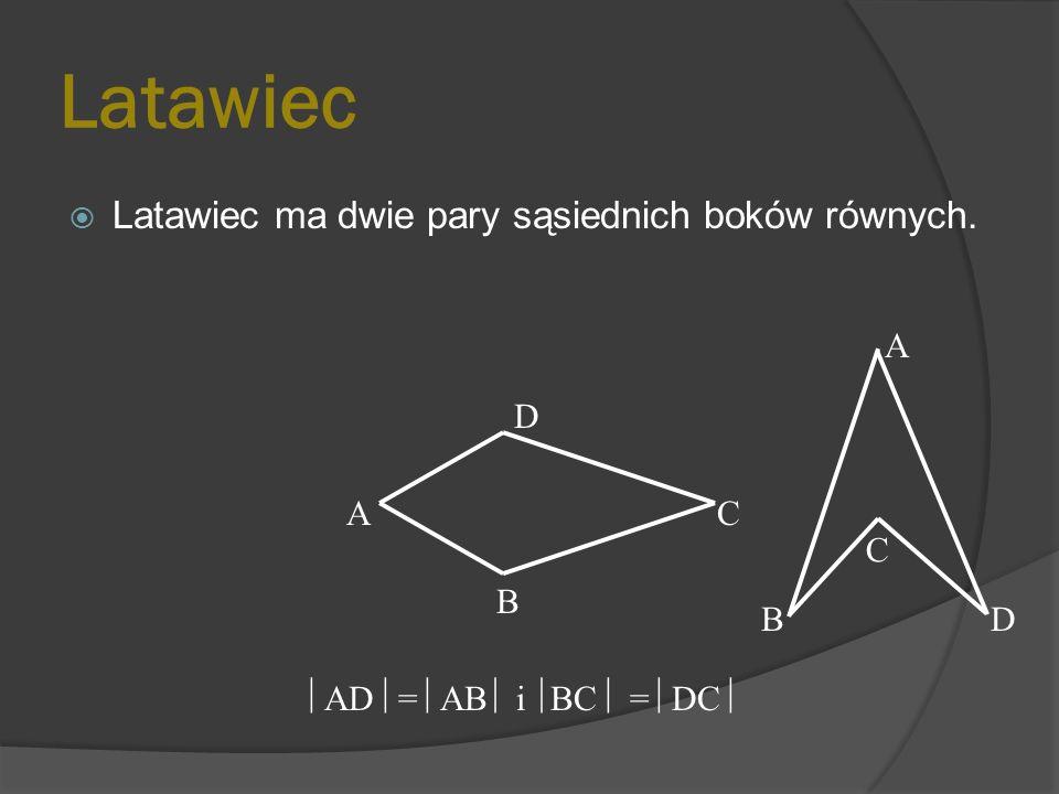 Latawiec Latawiec ma dwie pary sąsiednich boków równych. A D A C C B B
