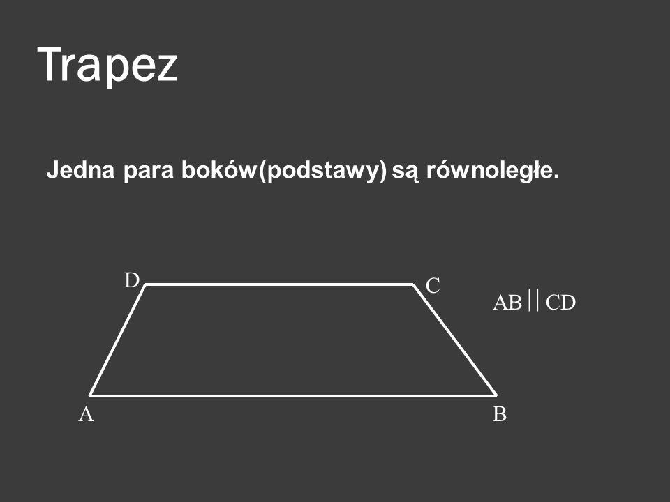 Trapez Jedna para boków(podstawy) są równoległe. D C AB CD A B
