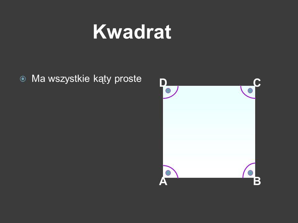 Kwadrat Ma wszystkie kąty proste D C Wszystkie kąty są proste. A B