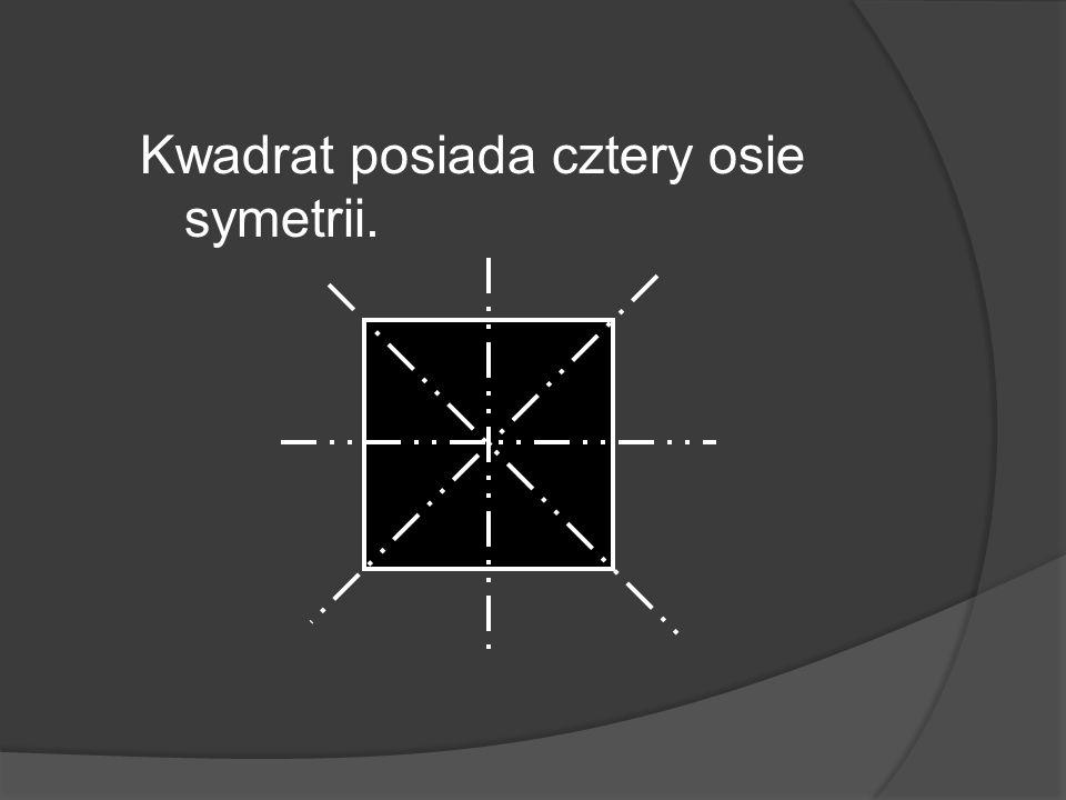 Kwadrat posiada cztery osie symetrii.