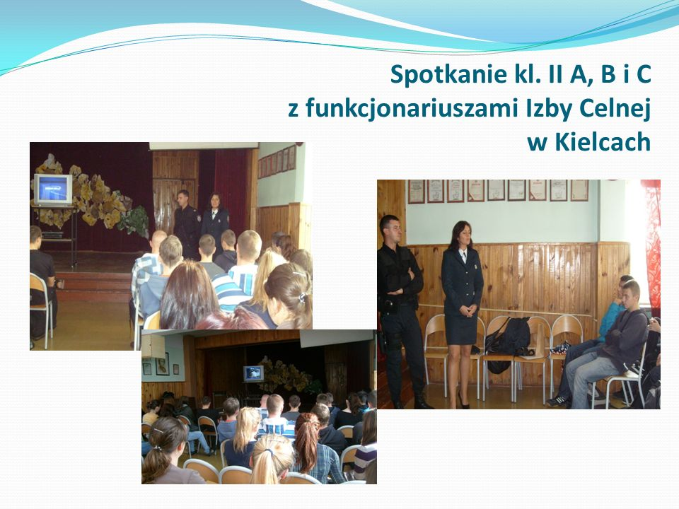 Spotkanie kl. II A, B i C z funkcjonariuszami Izby Celnej w Kielcach
