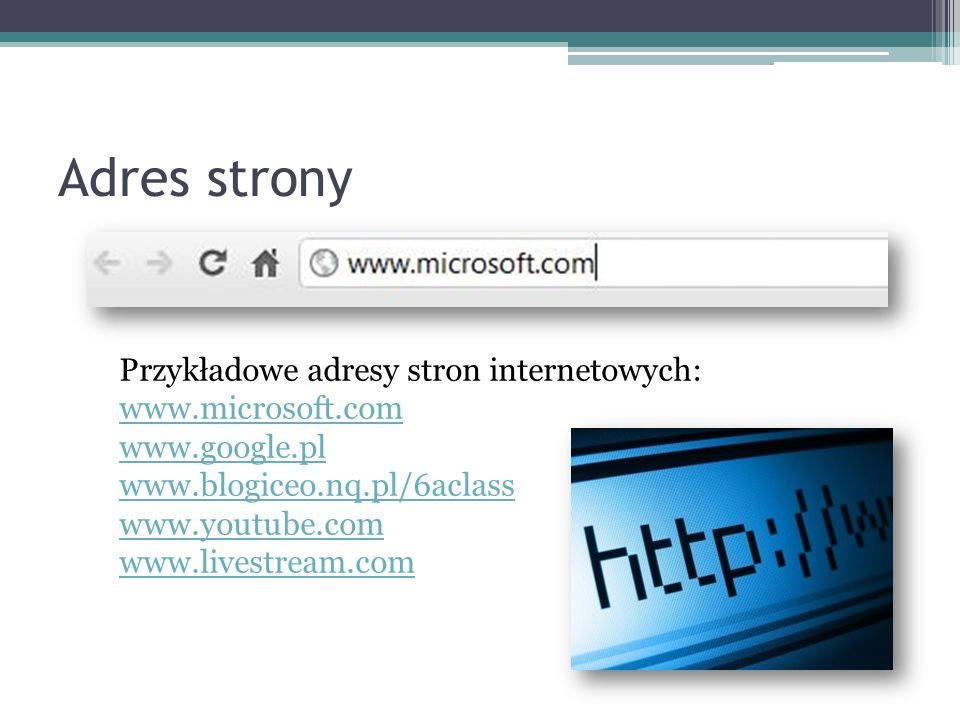 Adres strony Przykładowe adresy stron internetowych: www.microsoft.com