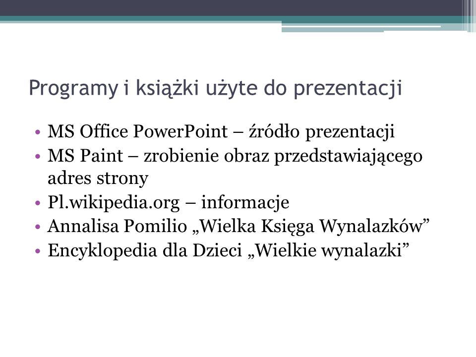 Programy i książki użyte do prezentacji