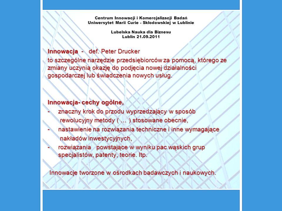 Innowacja - def. Peter Drucker