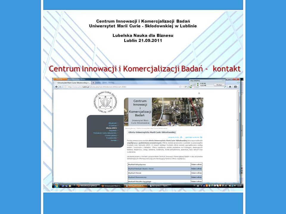 Centrum Innowacji i Komercjalizacji Badań - kontakt
