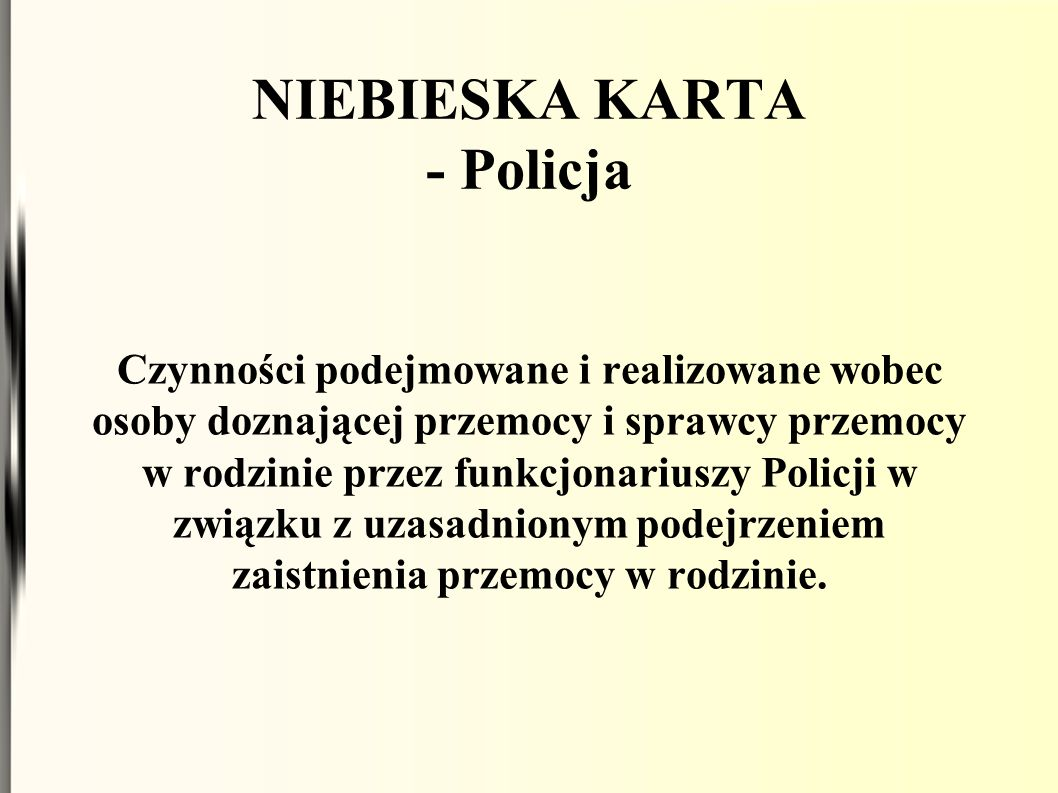 NIEBIESKA KARTA - Policja