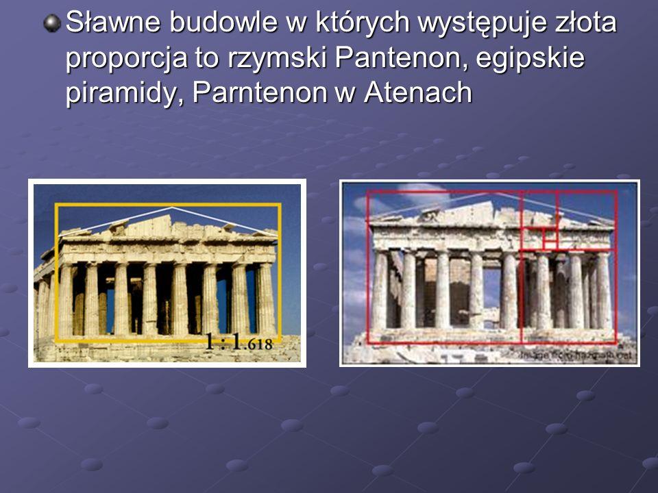 Sławne budowle w których występuje złota proporcja to rzymski Pantenon, egipskie piramidy, Parntenon w Atenach