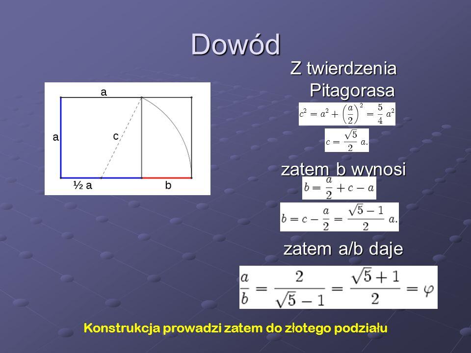 Dowód Z twierdzenia Pitagorasa zatem b wynosi zatem a/b daje
