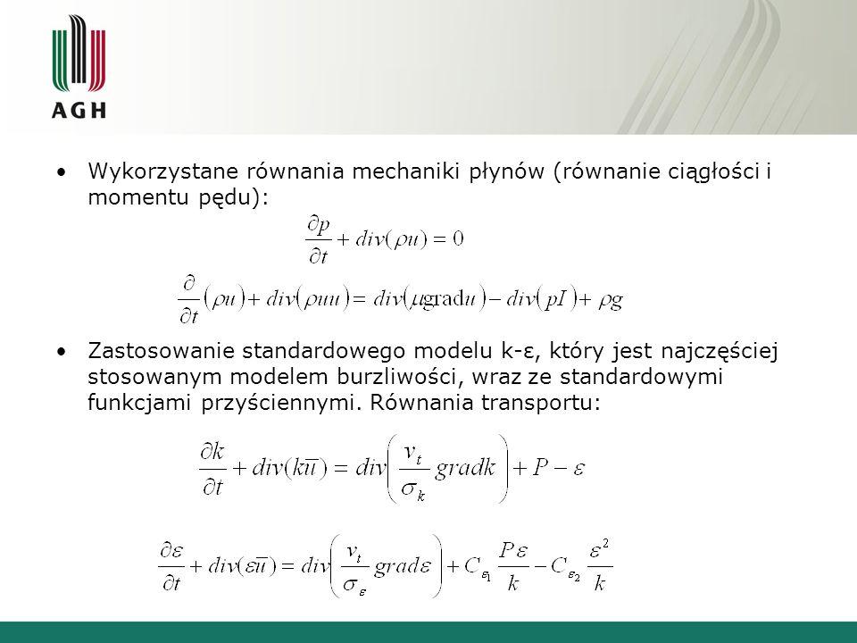 Wykorzystane równania mechaniki płynów (równanie ciągłości i momentu pędu):