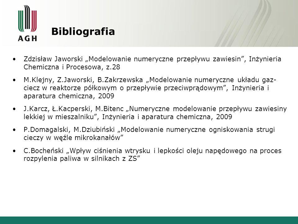 """Bibliografia Zdzisław Jaworski """"Modelowanie numeryczne przepływu zawiesin , Inżynieria Chemiczna i Procesowa, z.28."""